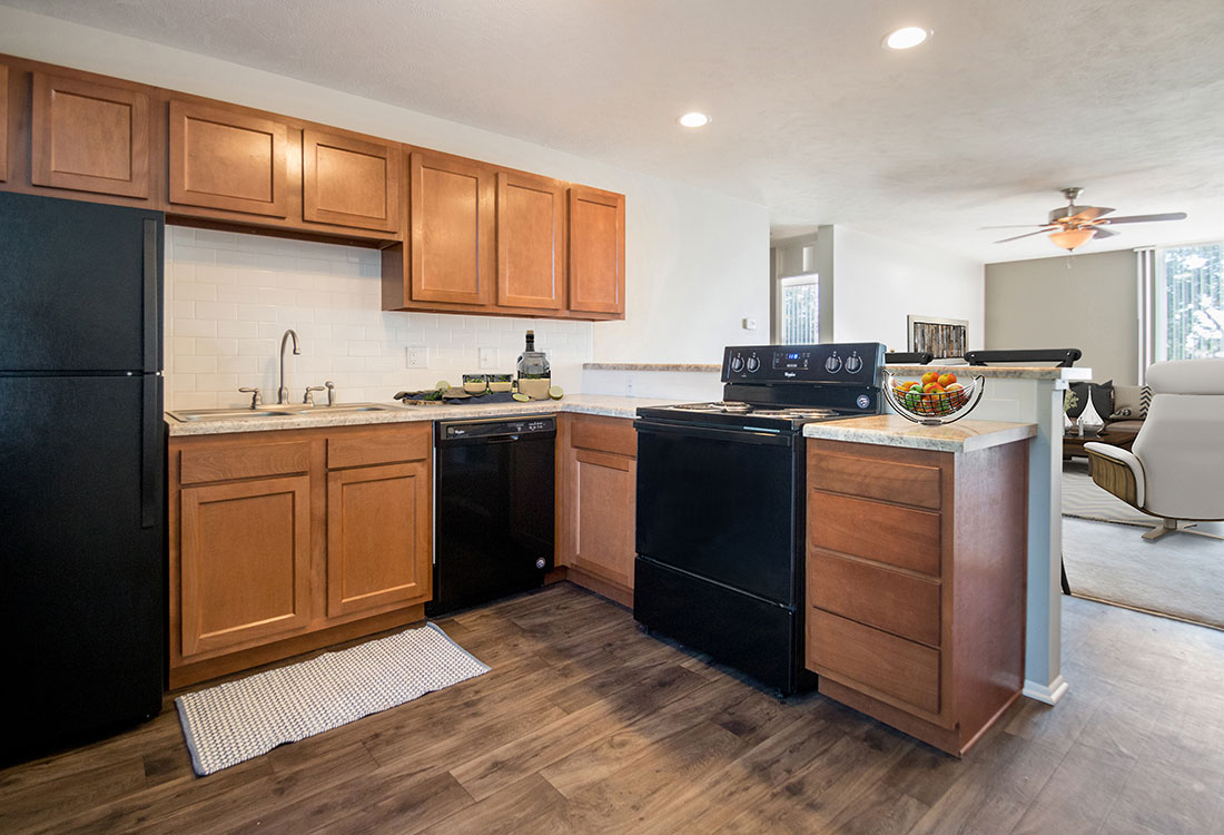 Ample Kitchen Cabinet Space at Trenridge Gardens Apartments in Lincoln, NE
