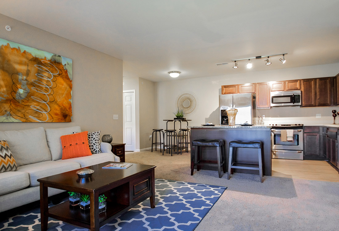 Spacious Living Room at Tuscany Place Apartments in Papillion, NE