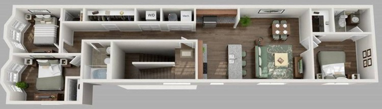 U City Flats - Floorplan - F - Third Floor