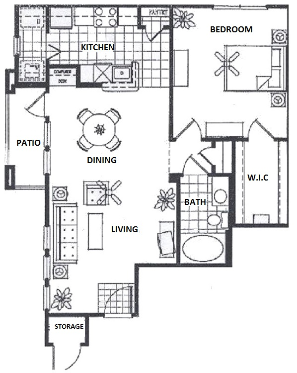 Vail Village Club Apartments - Floorplan - 1 Bedroom- D