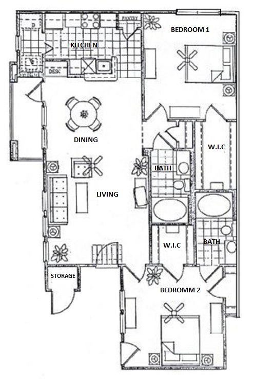 Vail Village Club Apartments - Floorplan - 2 Bedroom