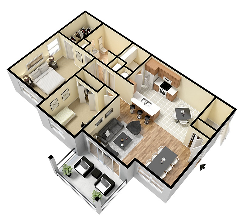Floorplan - Two Bed One Bath image