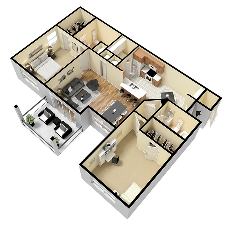 Floorplan - Two Bed Two Bath image