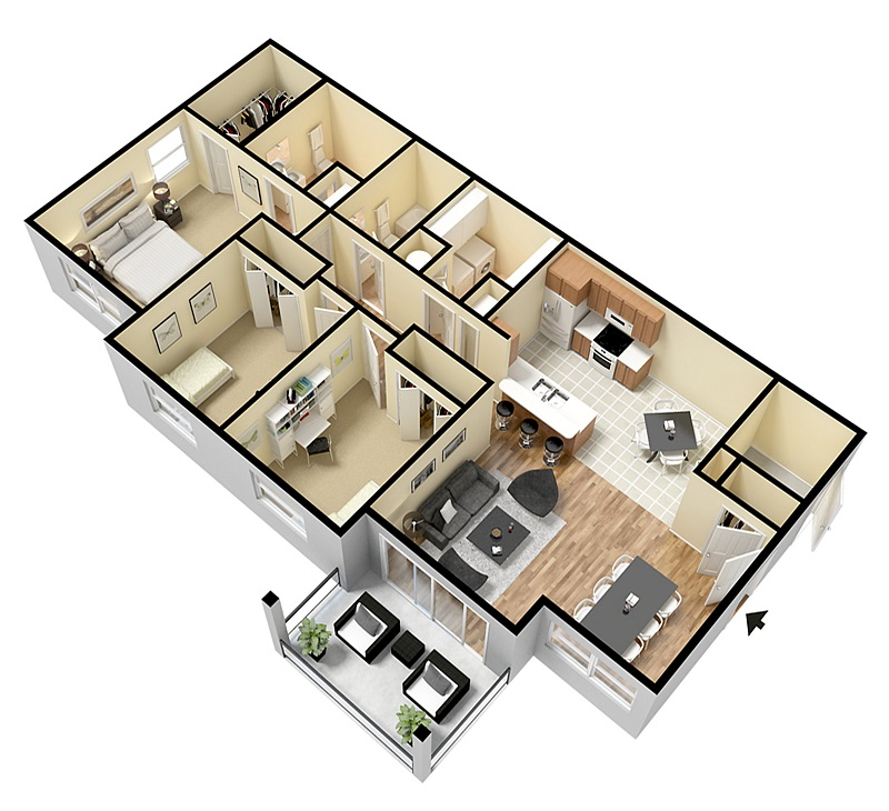 Floorplan - Three Bed Two Bath image