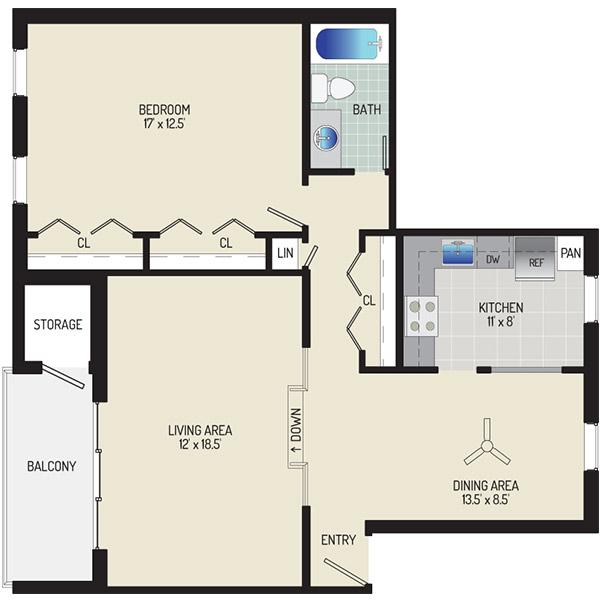 Village Square Apartments - Floorplan - 1 Bedroom + 1 Bath