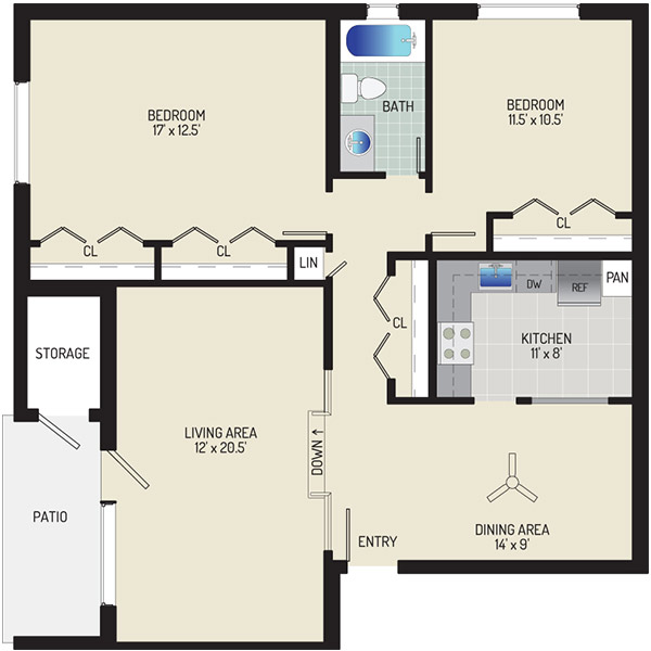Village Square Apartments - Floorplan - 2 Bedrooms + 1 Bath