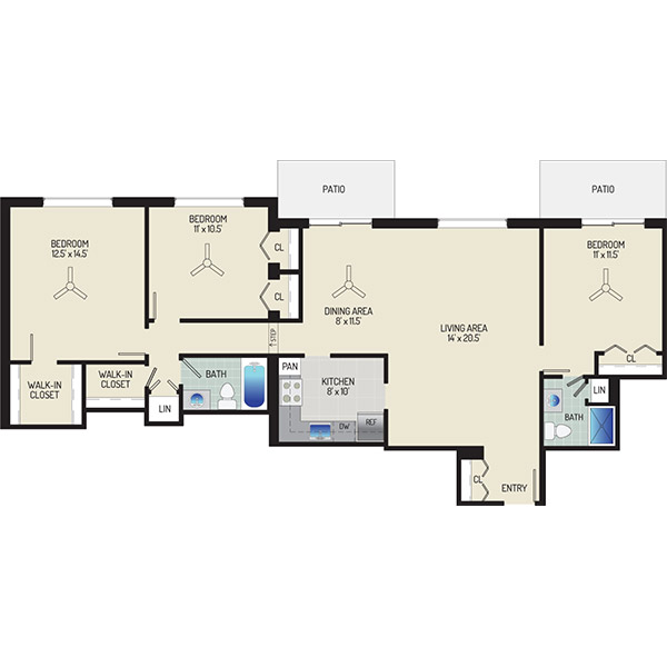 Village Square Apartments - Floorplan - 3 Bedrooms + 2 Baths