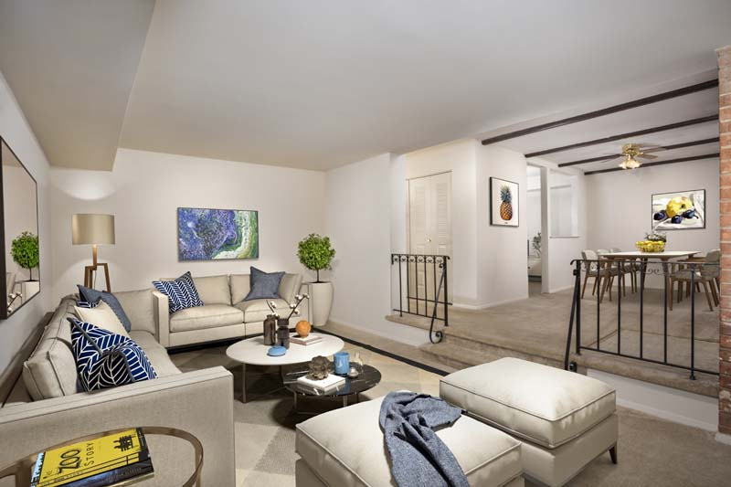 Split level floor plans available at Village Square Apartments in Wheaton, MD