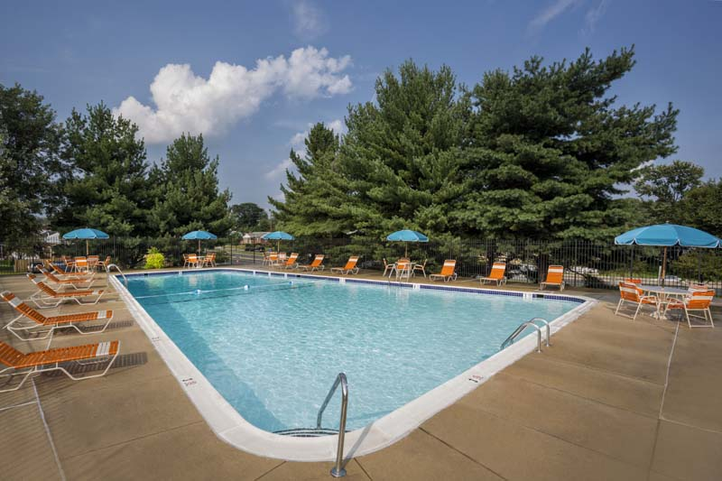 Relaxing sundeck at Village Square Apartments in Wheaton, MD
