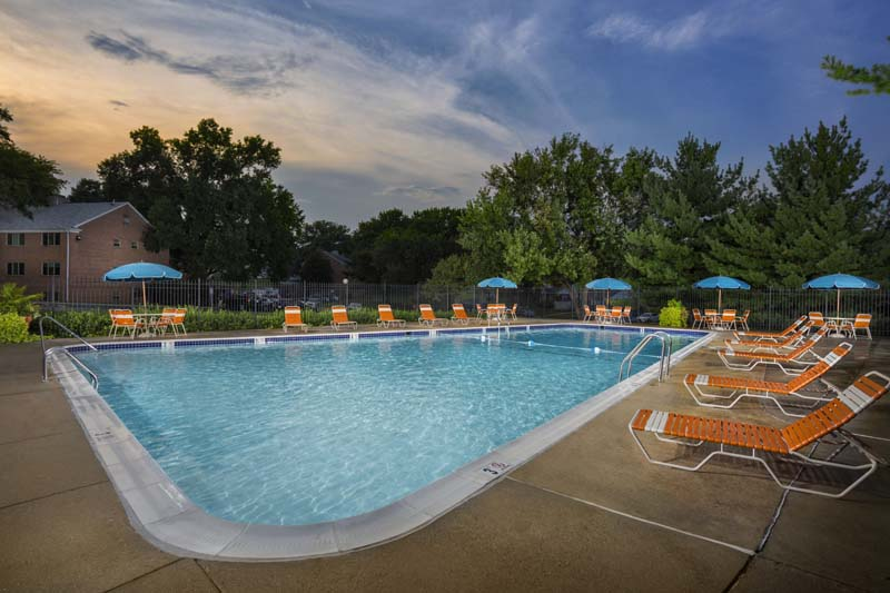 Refreshing swimming pool at Village Square Apartments in Wheaton, MD