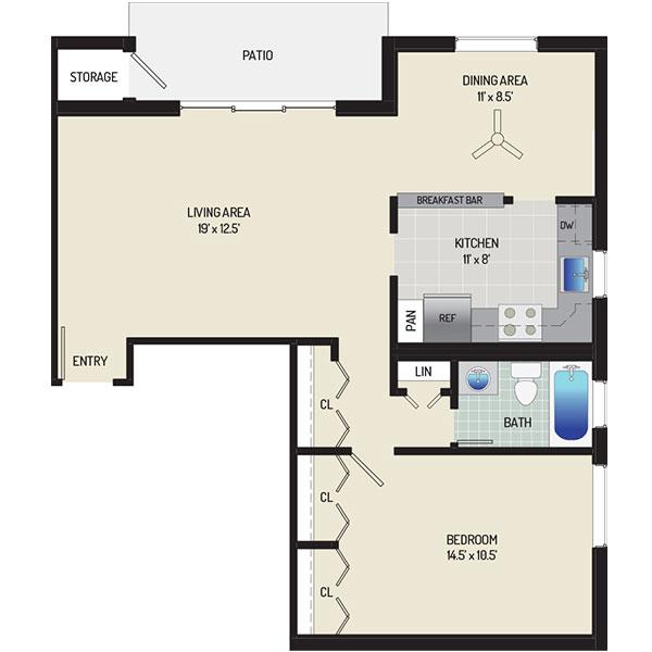 Village Square West Apartments - Floorplan - 1 Bedroom + 1 Bath
