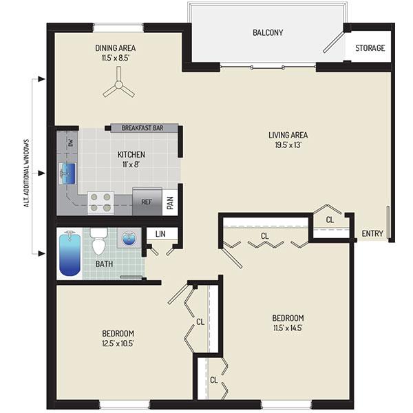 Village Square West Apartments - Floorplan - 2 Bedrooms + 1 Bath