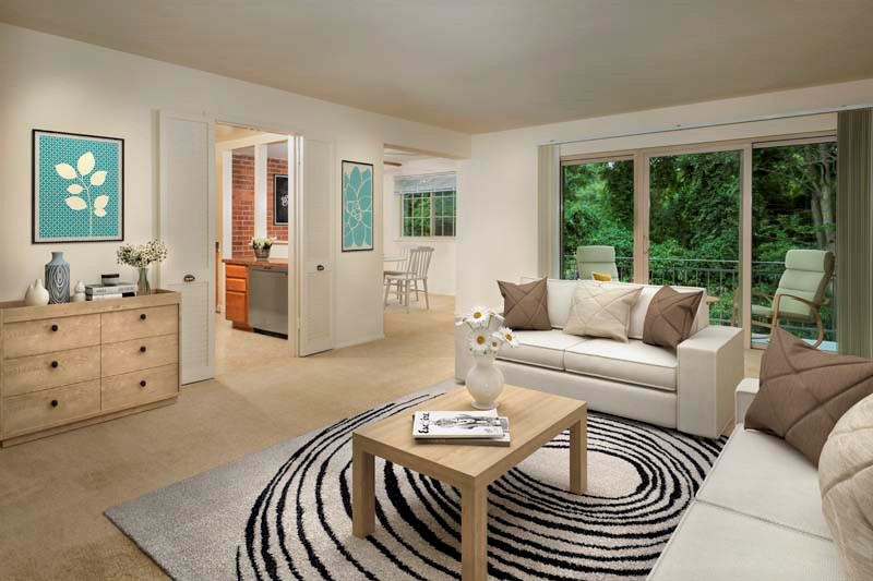 Spacious living area at Village Square West Apartments in North Bethesda, MD