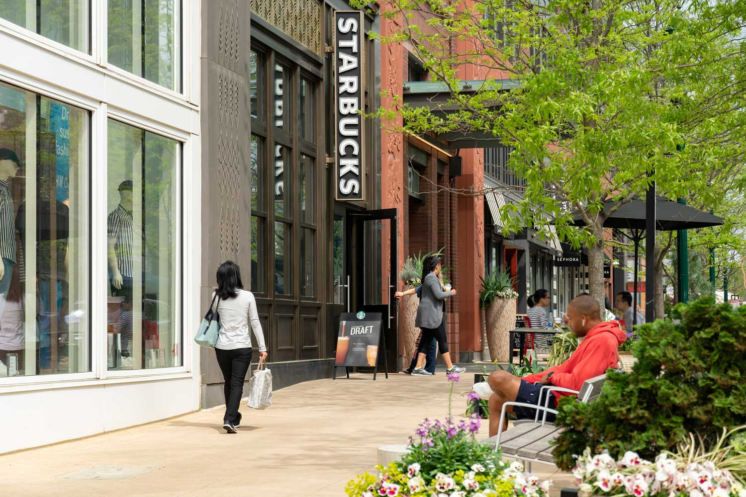 Shopping and dining at Pike & Rose in North Bethesda, MD