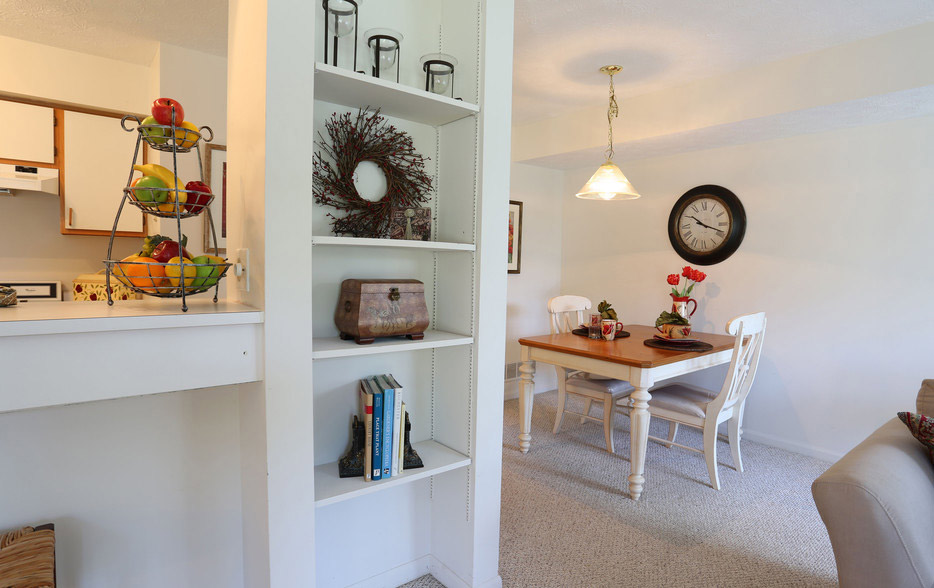 Built-In Bookshelves at Village Walk Apartments in Webster, New York