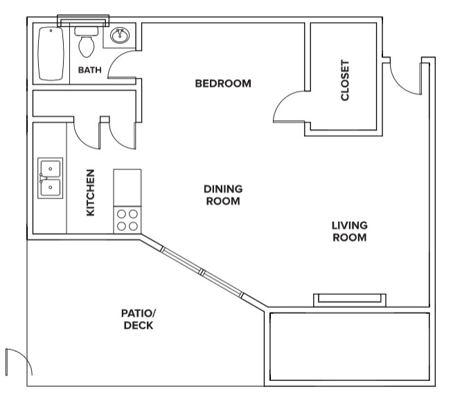 Villas of Oak Creste - Floorplan - 1C - Studio