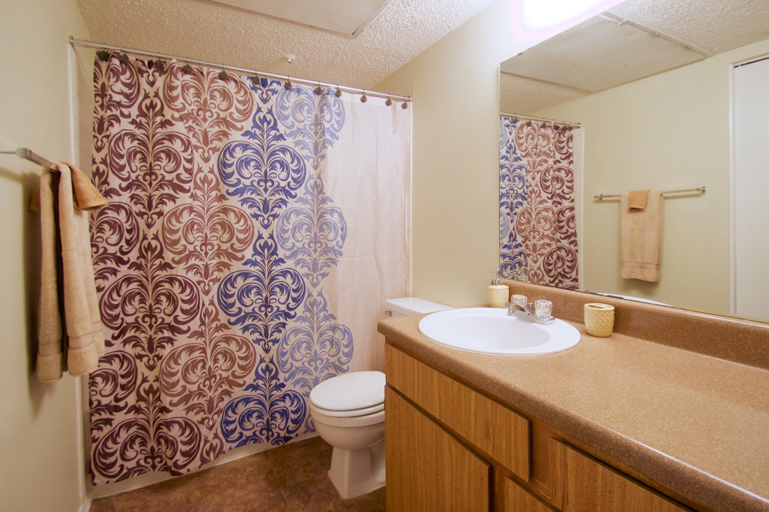 Shower and Tub Combination at Villas of Oak Creste Apartments in San Antonio, TX