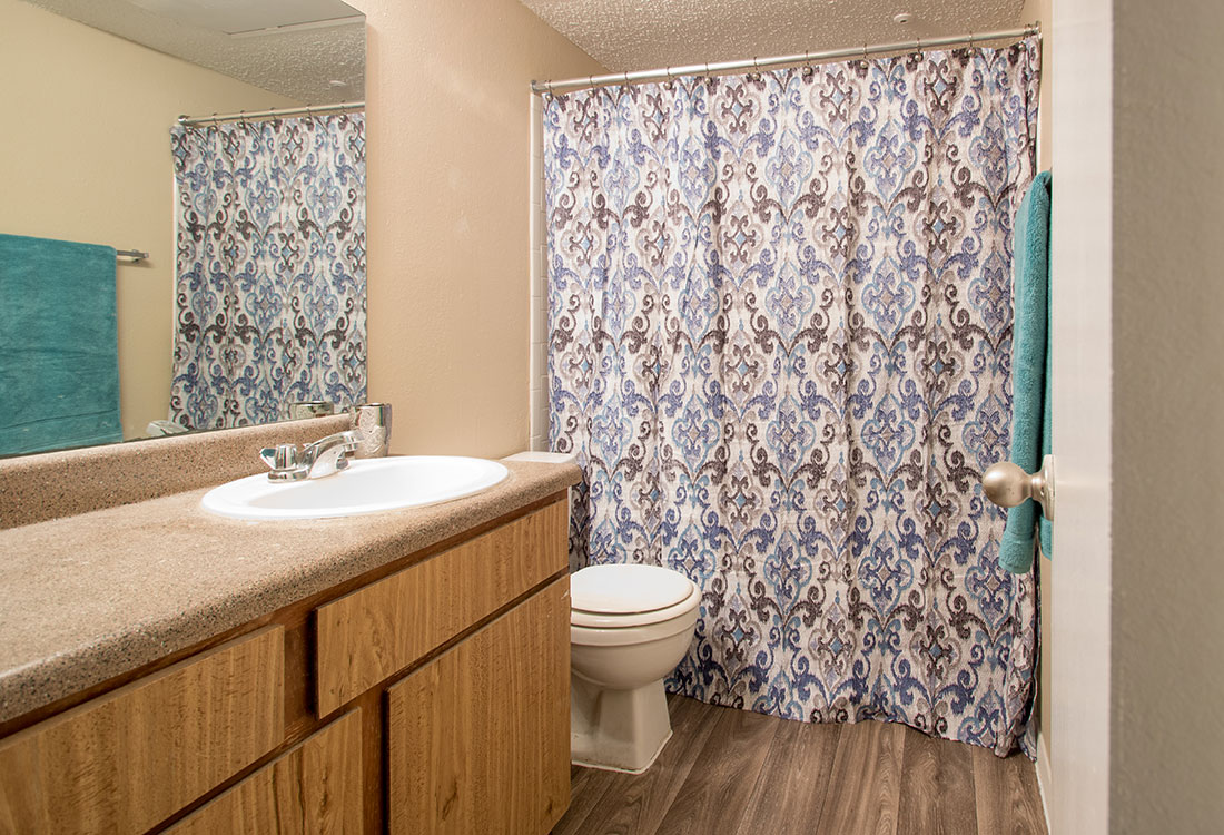 Bathroom with counter space at Villas of Oak Creste Apartments in San Antonio, TX