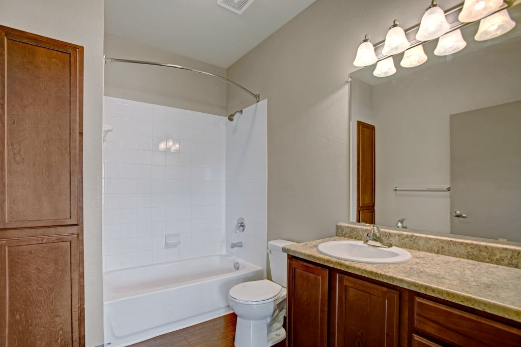 Bathtub and Shower at Vista Monterrey Apartment Homes in Brownsville, Texas