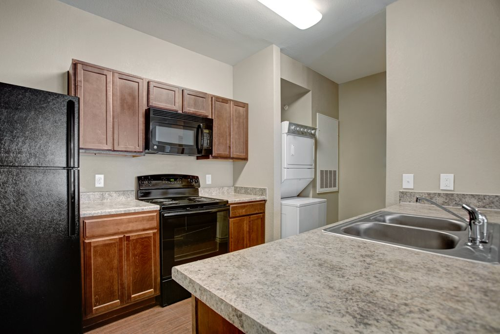 Black Appliances at Vista Monterrey Apartment Homes in Brownsville, Texas