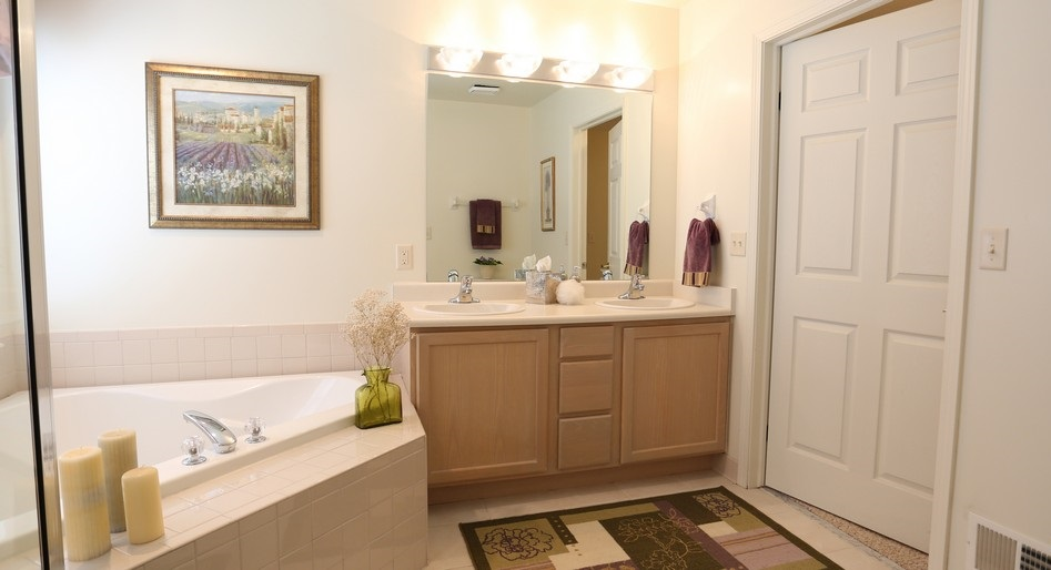 Bathroom at The Waterview at Willowpoint Townhouses in Webster, NY