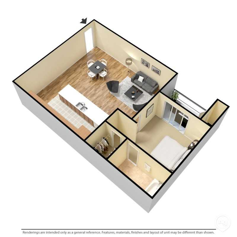 Floorplan - 1 Bedroom- A image