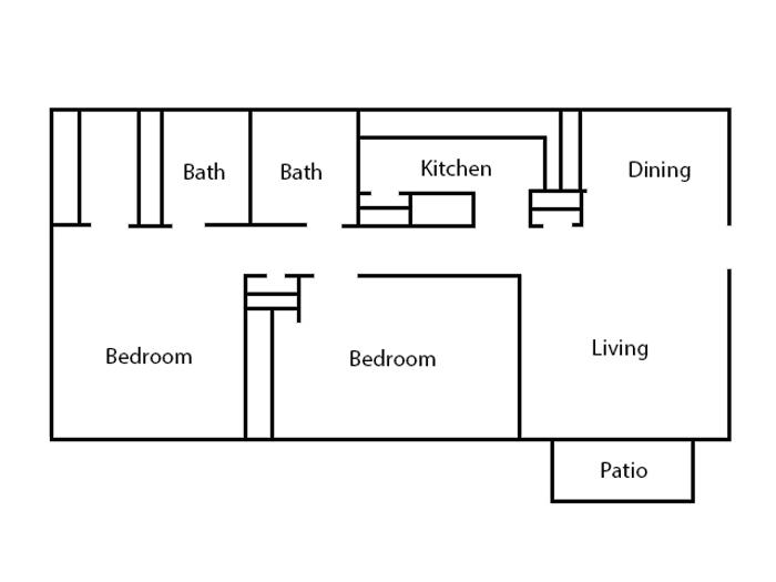 6Eleven Lamar Apartments - Floorplan - 2 Bedroom- A
