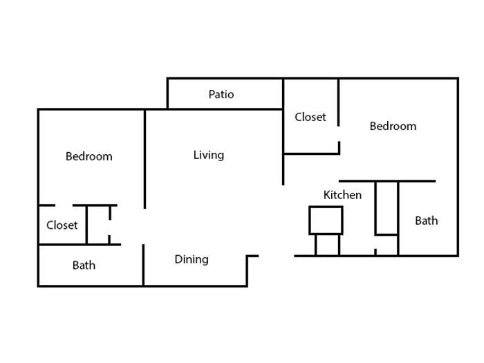6Eleven Lamar Apartments - Floorplan - 2 Bedroom- B