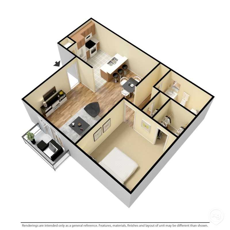 6Eleven Lamar Apartments - Floorplan - 1 Bedroom- B