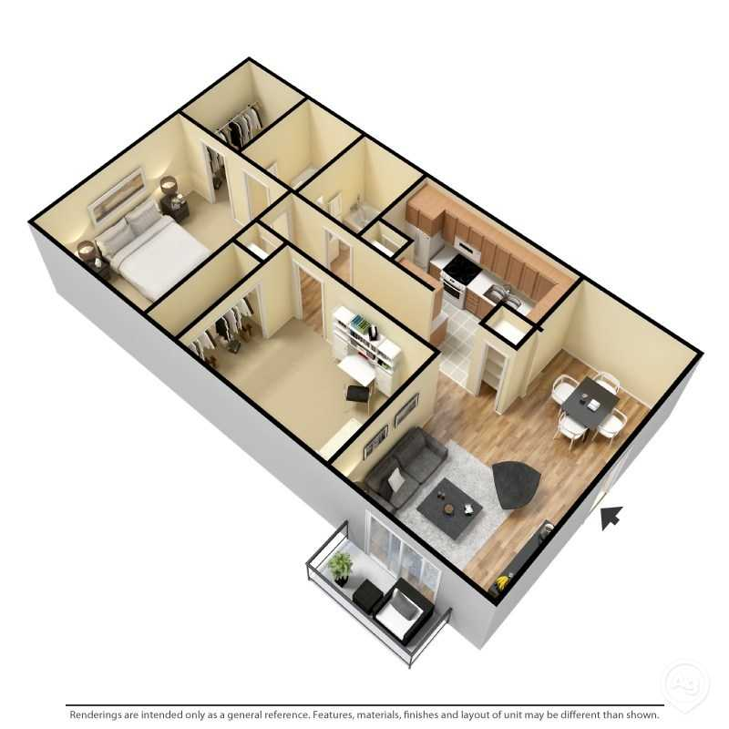 6Eleven Lamar Apartments - Floorplan - 2 Bedroom- A