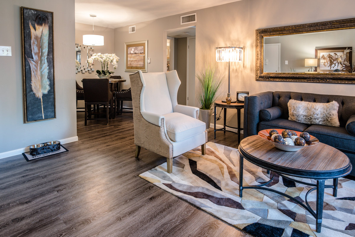 Renovated Living Area at 6Eleven Lamar Apartments in Arlington, Texas