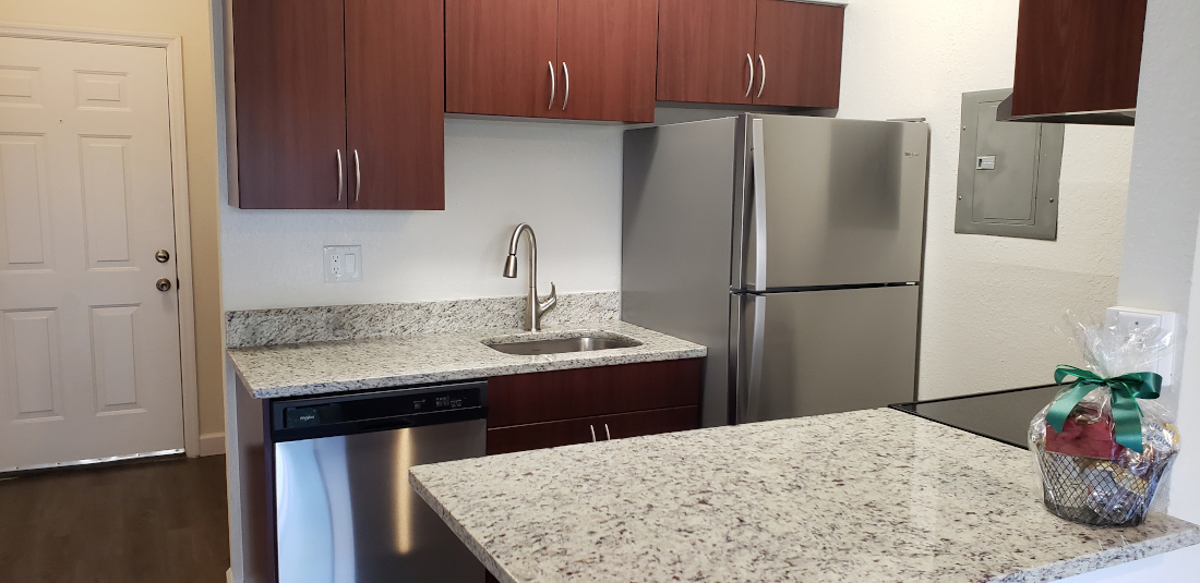 Fully Equipped Kitchen at Waterford Point Apartments in Miami, Florida