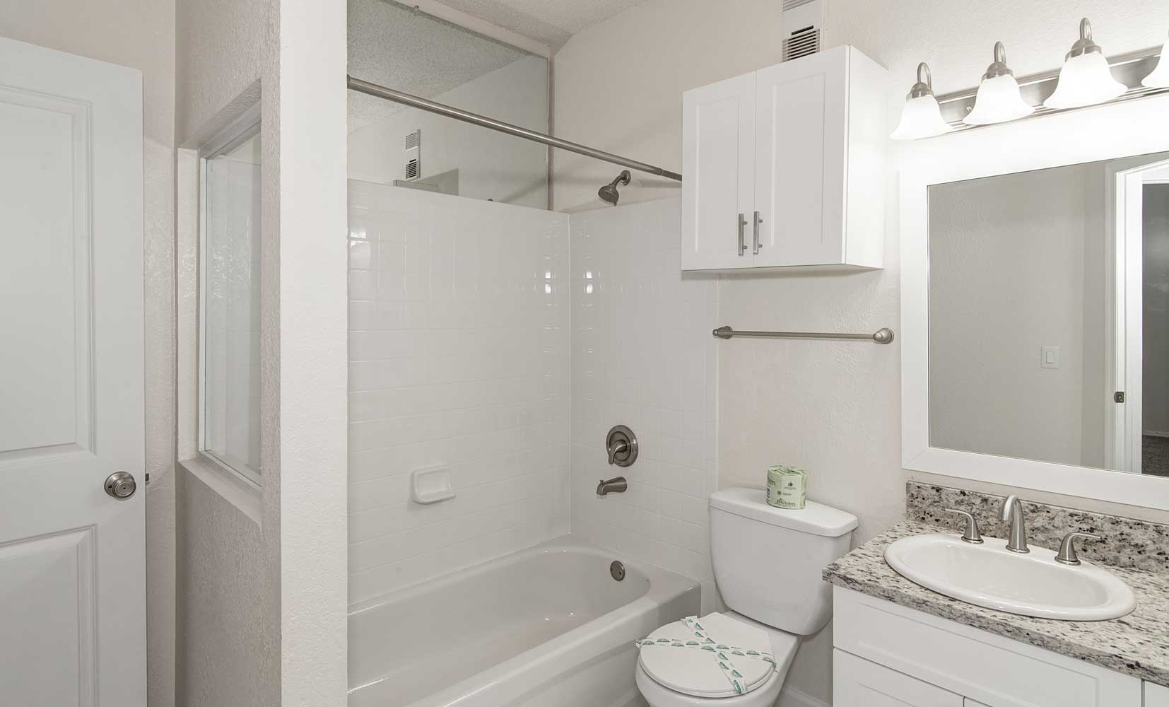 Shower and Tub at Waterford Point Apartments in Miami, Florida