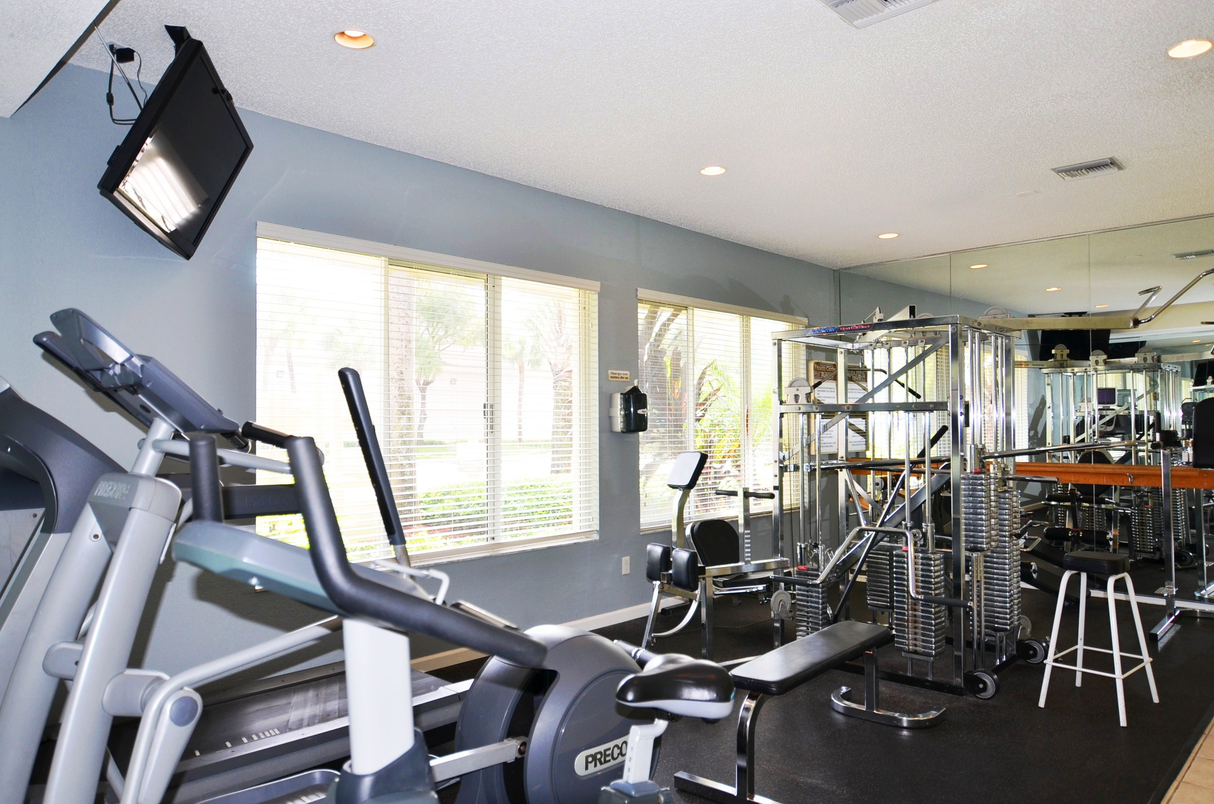 Treadmill, stationary bike and abduction machine at Waterford Point Apartments in Miami, Florida