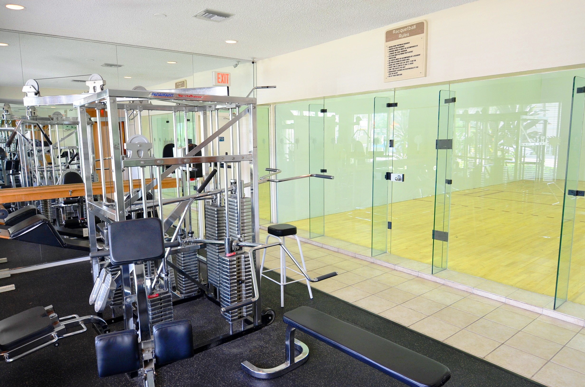 More exercise equipment's and a Racquetball area at Waterford Point Apartments in Miami, Florida
