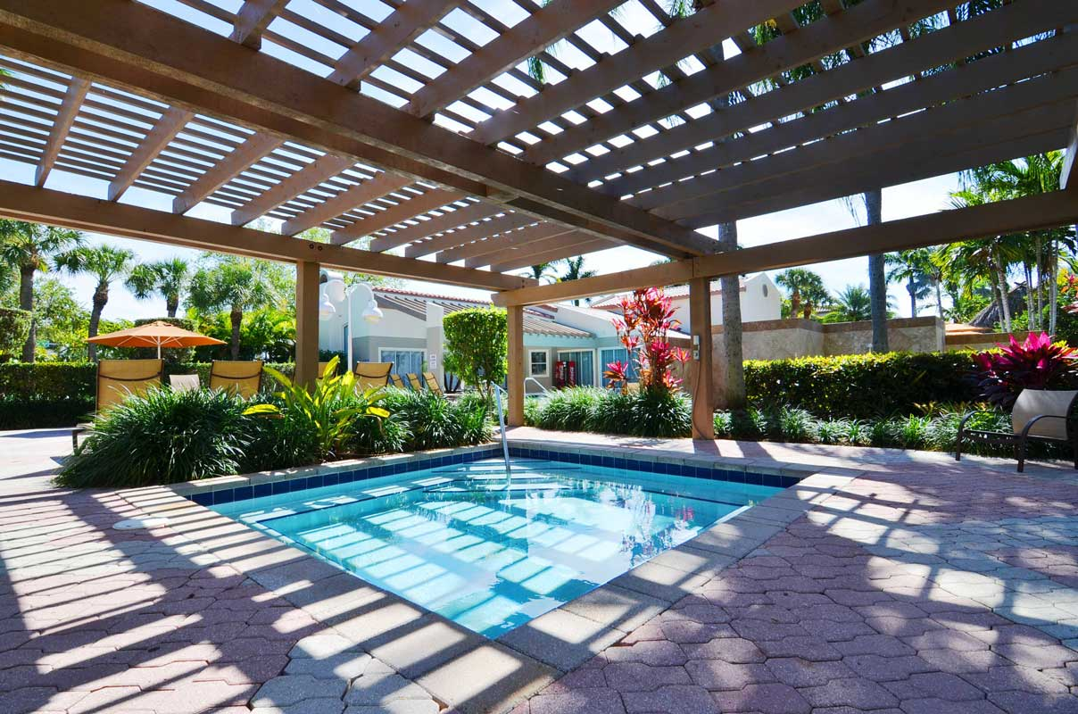 Covered Pool Area at Waterford Point Apartments in Miami, Florida