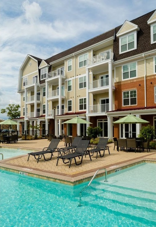 Pool Lounge Area at The Watermark Apartments in Norfolk, Virginia