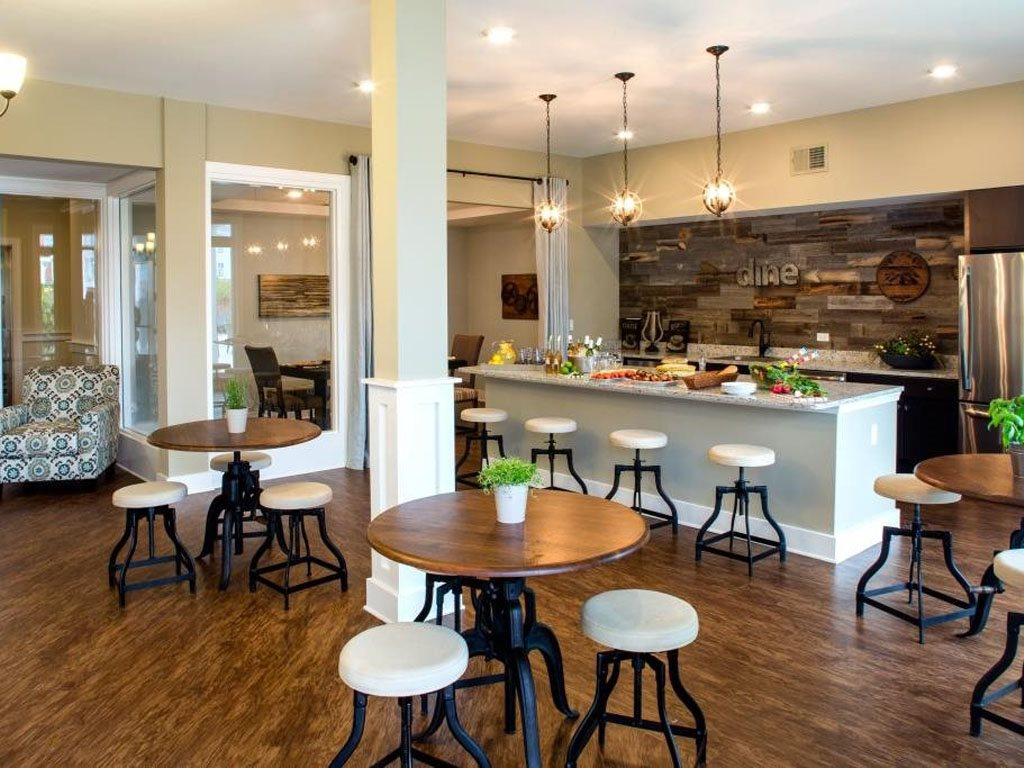 Community Kitchen with Bar at The Watermark Apartments in Norfolk, Virginia