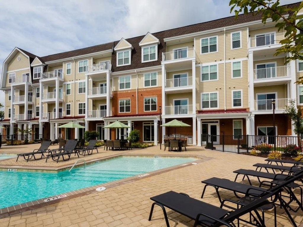 Pool Area with Seating at The Watermark Apartments in Norfolk, Virginia