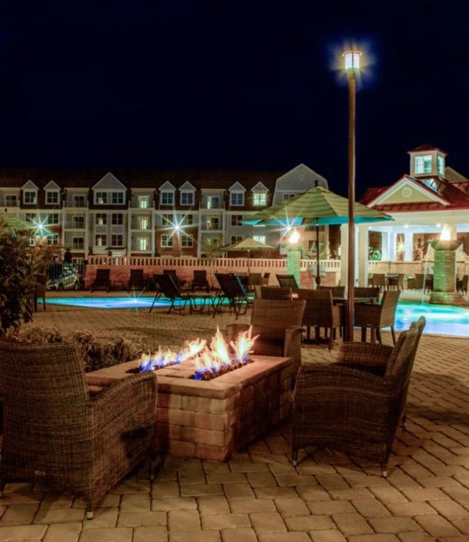 Outdoor Fireplace at The Watermark Apartments in Norfolk, Virginia