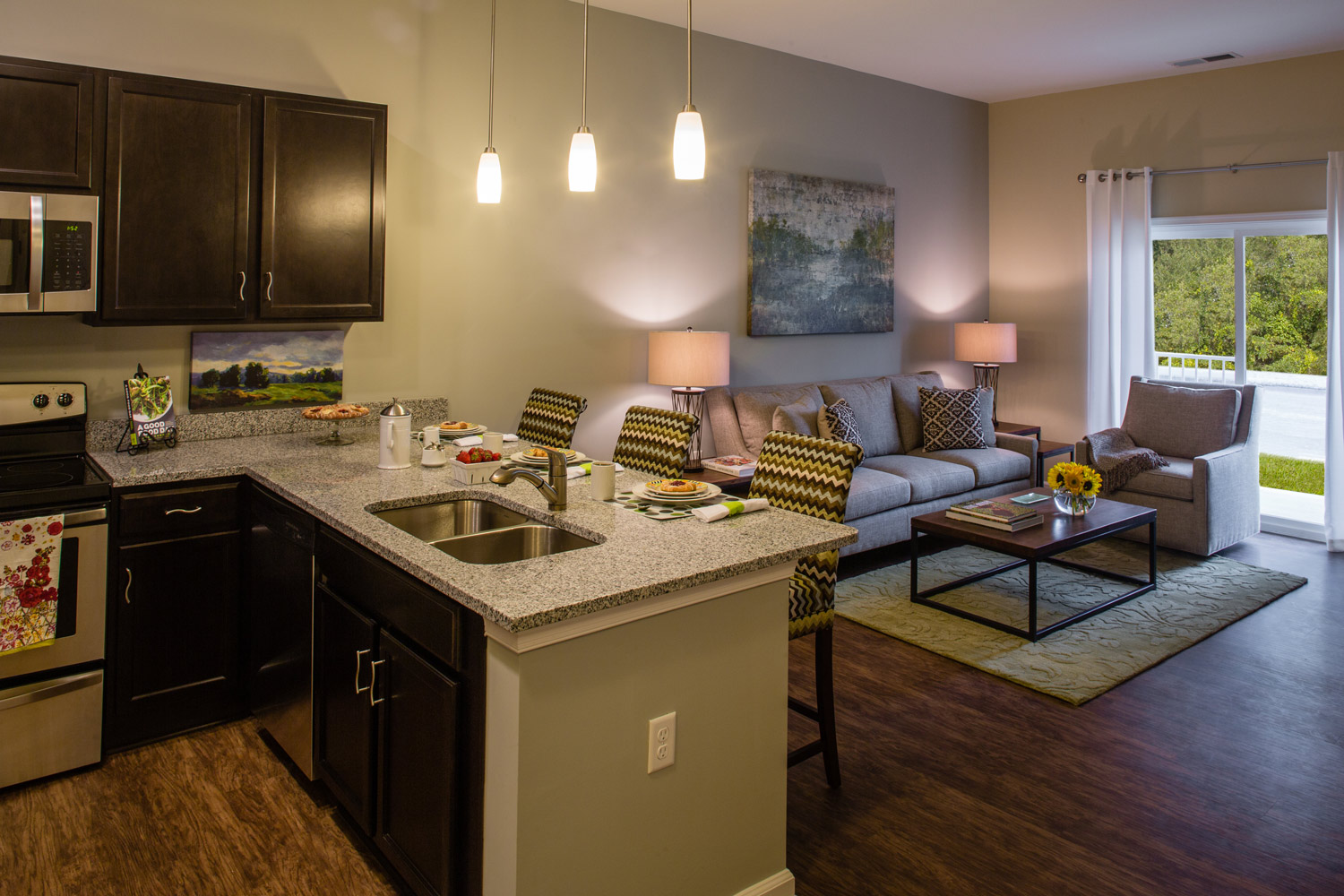 Kitchen at The Watermark Apartments in Norfolk, Virginia
