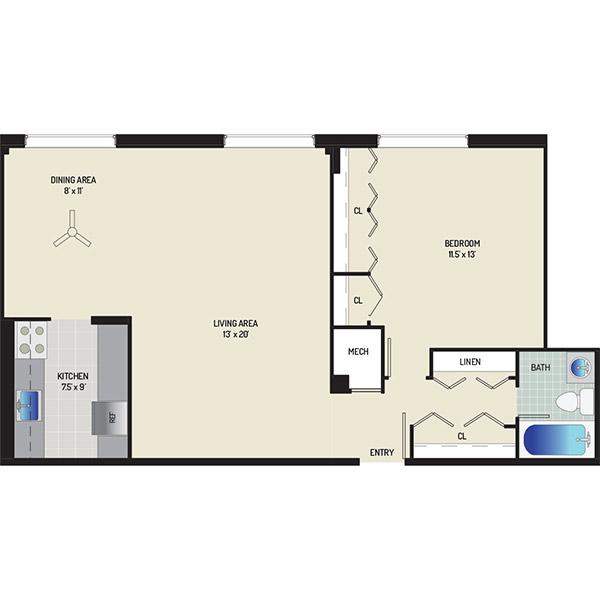 Wayne Manchester Towers Apartments - Floorplan - 1 Bedroom, 1 Bath