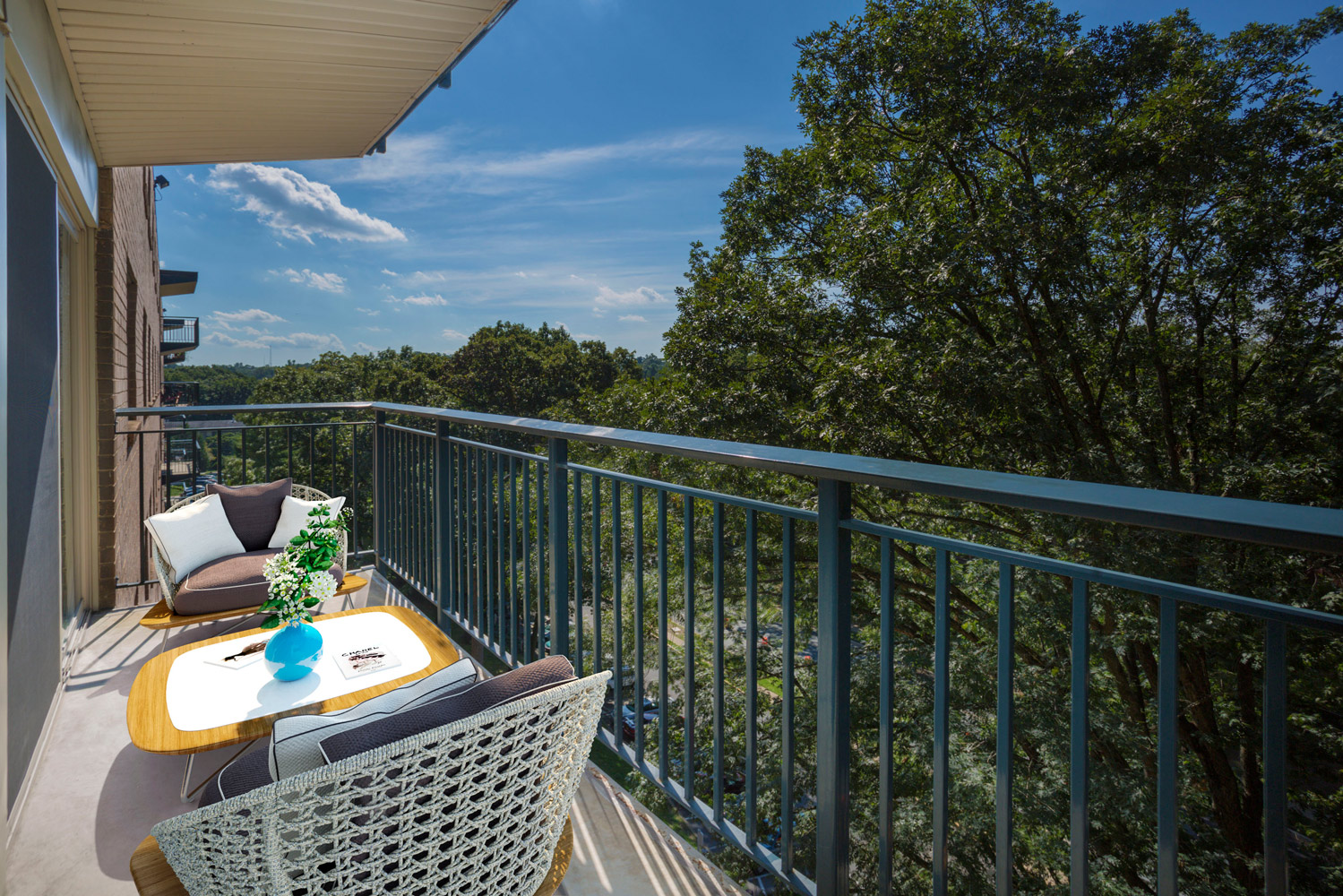Relaxing, spacious balcony at Wayne Manchester Towers Apartments in Silver Spring, MD