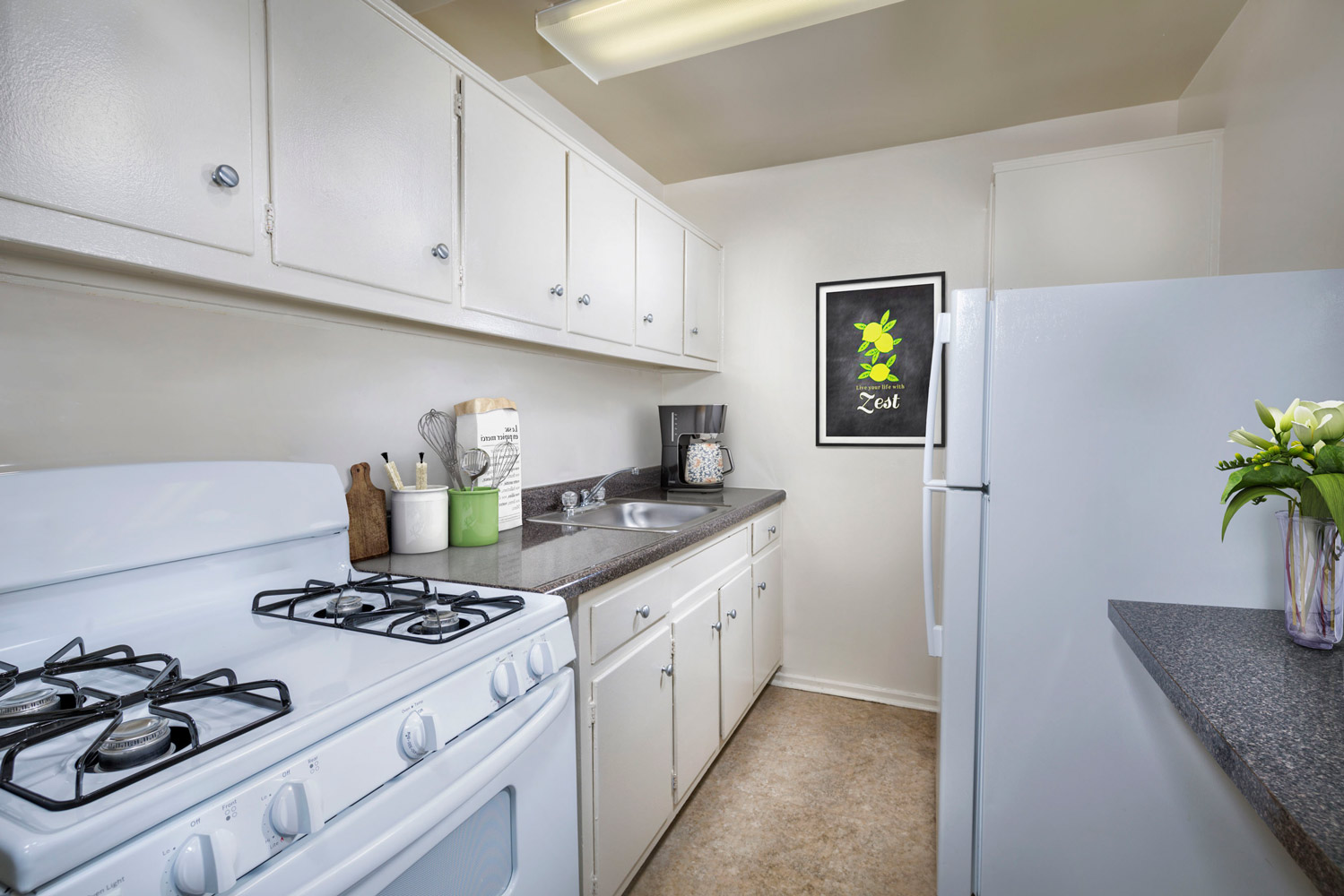 Well-equipped kitchens at Wayne Manchester Towers Apartments in Silver Spring, MD