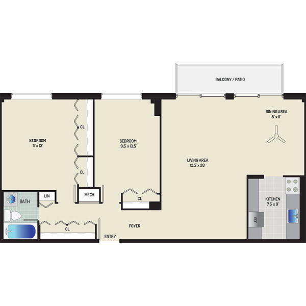 Wayne Manchester Towers Apartments - Apartment 460075-W406-F1