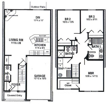 Floorplan - Three Bedroom  Townhouse  image