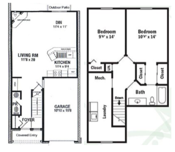Floorplan - Two Bedroom  Townhouse image