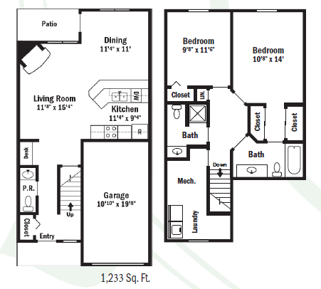Webster Woods Townhomes - Floorplan - Two Bedroom  Townhouse