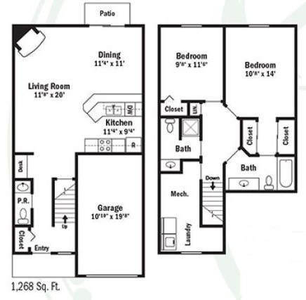 Webster Woods Townhouse Apartments - Floorplan - Two Bedroom  Townhouse