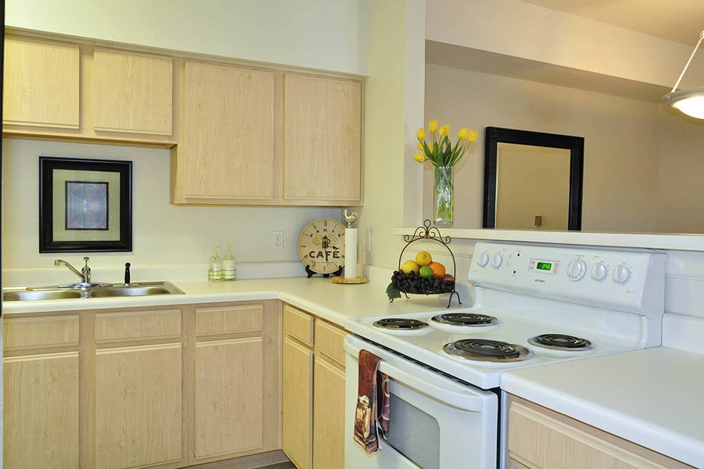 White Appliance Package at Village at Westlake Apartments in Shreveport, Louisiana